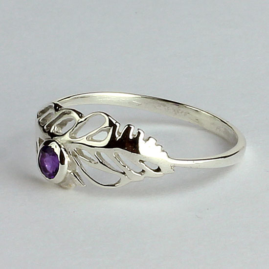 Amethyst Feather Ring