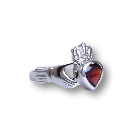 Garnet Celtic Traditional Claddagh Ring