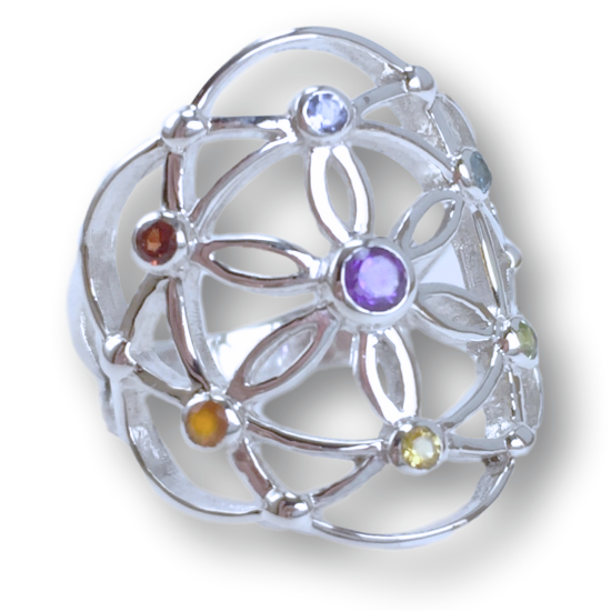 Chakra Flower of Life Ring