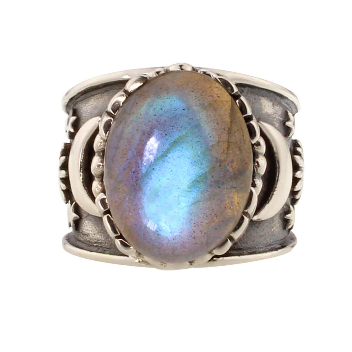 Labradorite Sun Moon Star Unisex Ring