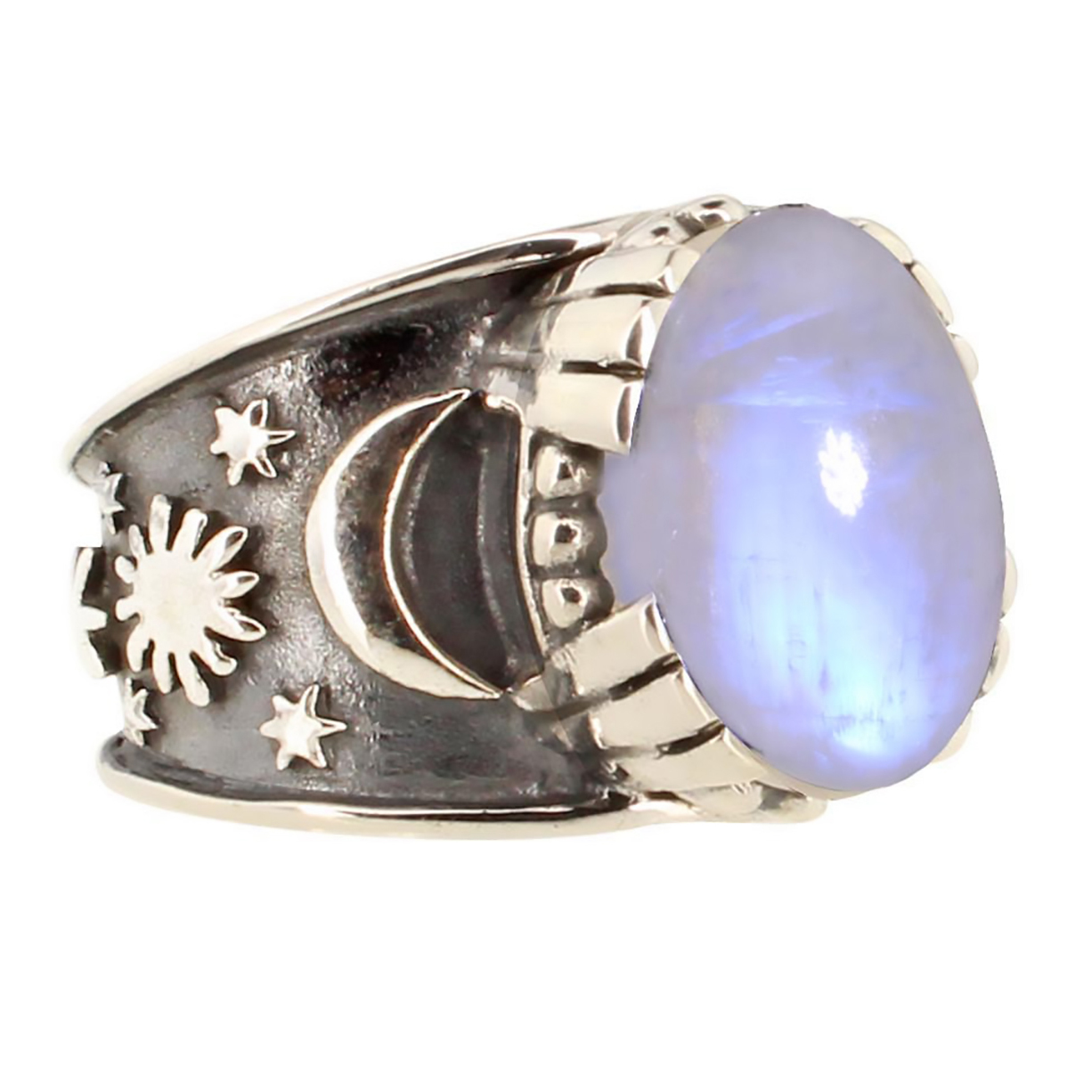 Moonstone Sun Moon Star Ring