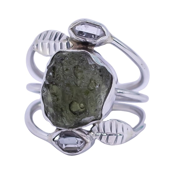 Moldavite Herkimer Diamond & Silver Leaves Ring