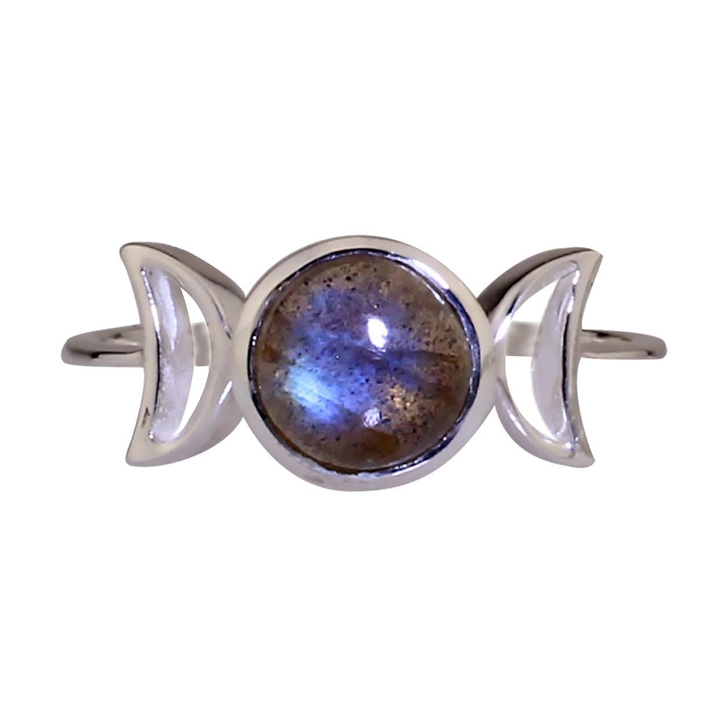 Labradorite Triple Goddess Ring
