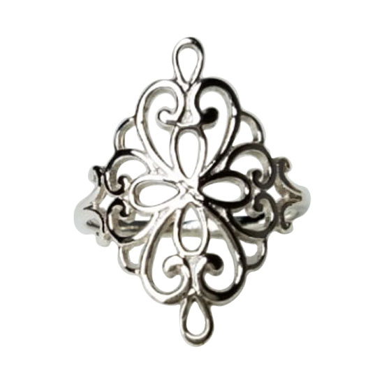 Silver Fanciful Filigree Ring