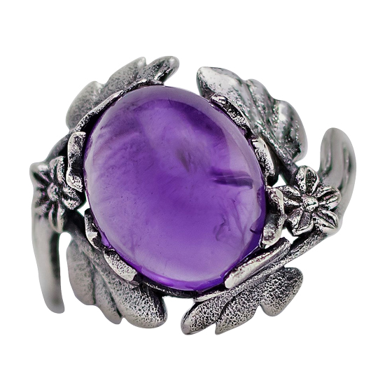 Amethyst Flower Garden Ring