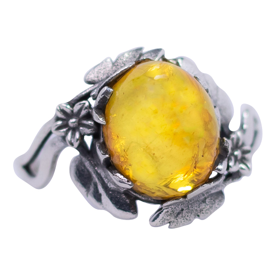 Baltic Amber Flowers & Leaves Ring