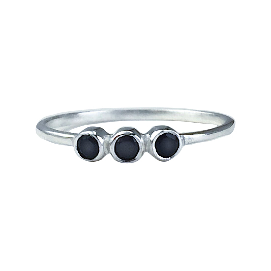 Black Spinel Triple Ring