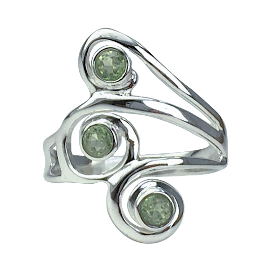 Peridot Triple Swirl Ring