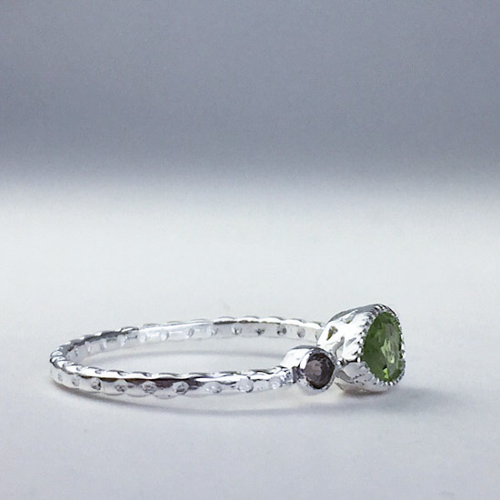 Peridot & Smokey Quartz Petite Ring