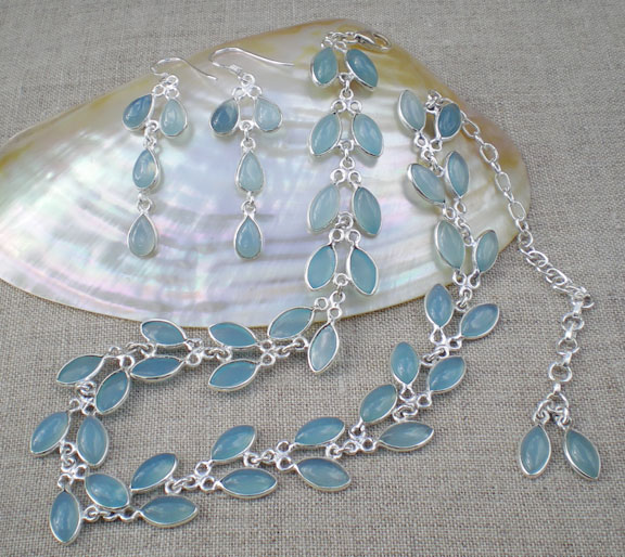 Chalcedony Blue Florets Necklace