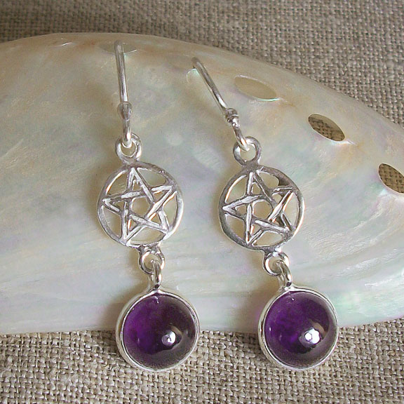 Pentacle Amethyst Earrings