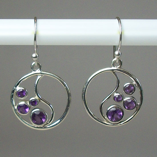Ying Yang Amethyst Faceted Earrings