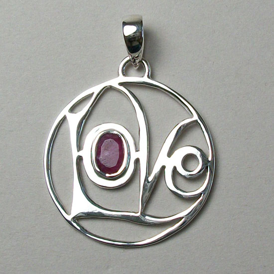 Love Pendant w/ Garnet Faceted
