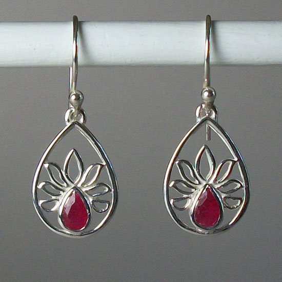 Lotus Ruby Teardrop Earrings