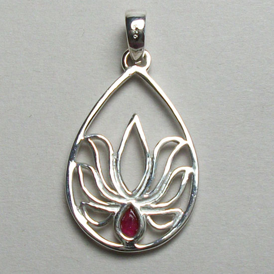 Lotus Ruby Teardrop Pendant