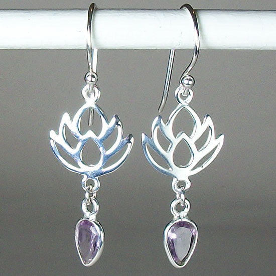 Lotus Amethyst Earrings