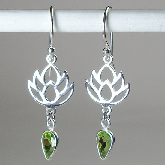 Lotus Peridot Earrings