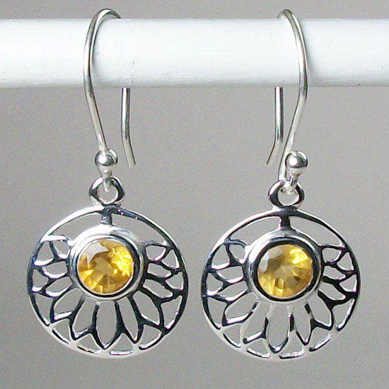 Lotus Citrine Solar Plexus Earrings