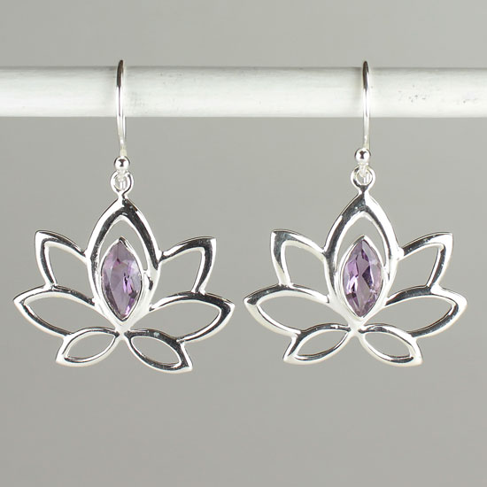 Lotus of the Lake Amethyst Earrings