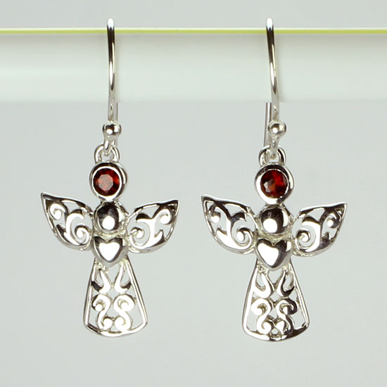 Garnet Angel Blessings Earrings