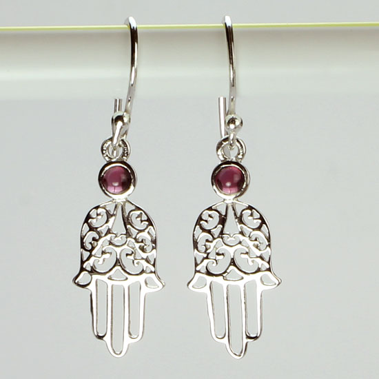 Healing Hand Earrings- Hansa Garnet