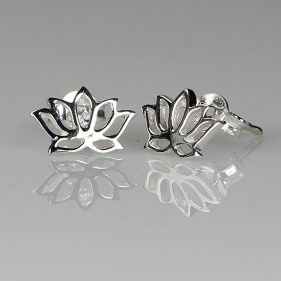 Lotus Stud Silver Earrings