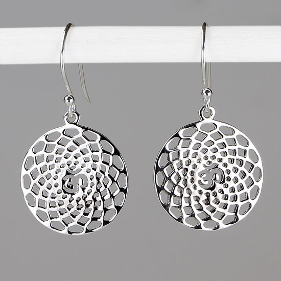 Om Mandala Silver Earrings