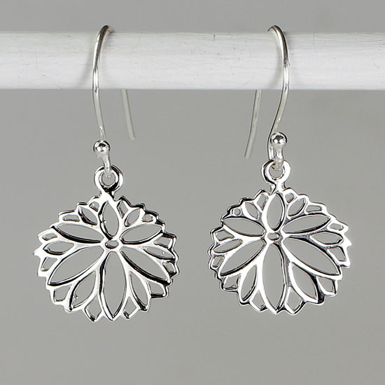 Lotus Mandala Silver Earrings