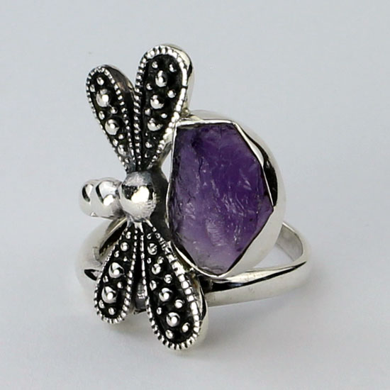 Dragonfly Amethyst Ring