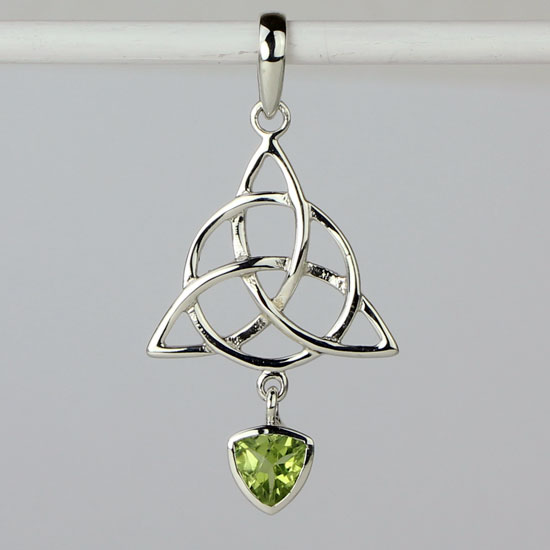 Peridot Celtic Trinity Knot Circle of Life Pendant
