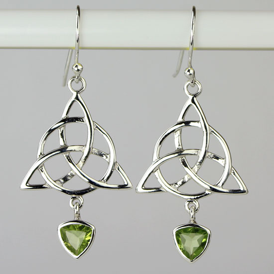 Trinity Knot Circle of Life Peridot Earrings