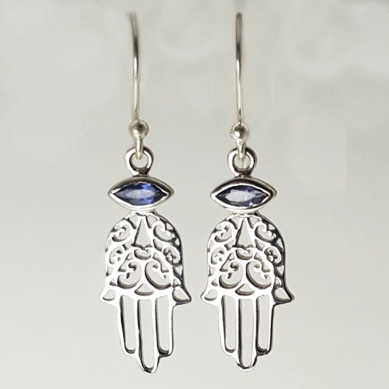 Healing Hand Hamsa Iolite Earrings