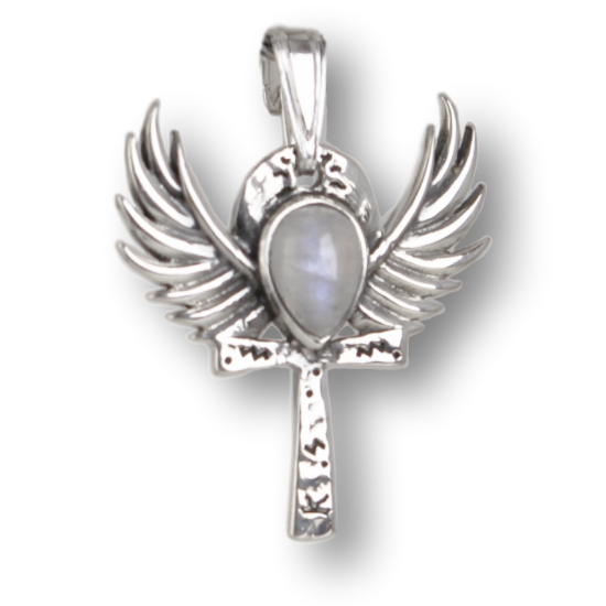 Moonstone Winged Ankh