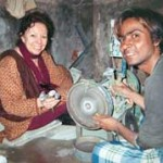 In India I had the Tiffany slabs cut into cabochon stones, and I got to help polish them!