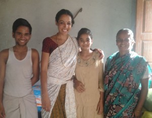 L-R: Meera's son, Ganga, Dali and her mom Meera.