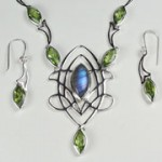 peridot and labradorite set