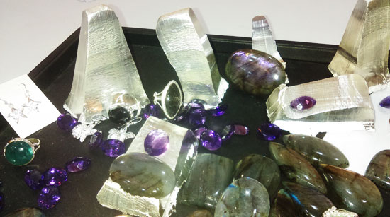 raw silver and gemstones