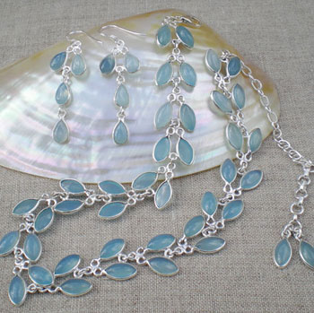 Retro Blue Chalcedonly Necklace Earring Set